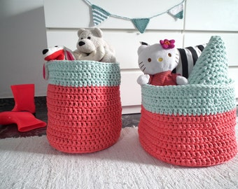 XXL  Crochet Baskets - Big Crochet Storage Bin - Large Storage Toy Baskets - Laundry Hamper - Home Organization