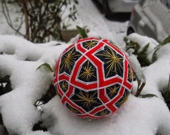 Geometric Pattern Temari Ball Japanese Fiber Art Decoration