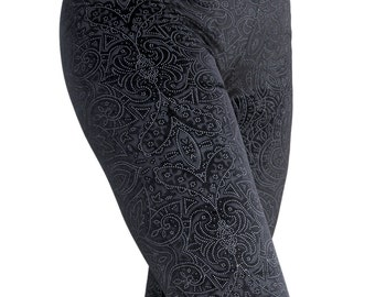 90's Black Victorian Printed Velvet Leggings
