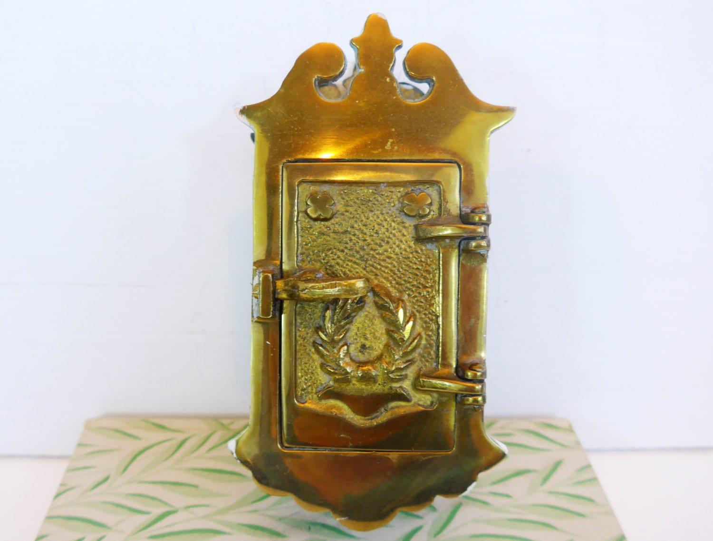 Antique Brass Door Knocker W/ Speakeasy Peep Hole Heavy