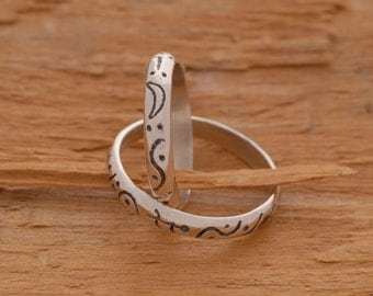 Unique Sterling Silver Wedding Bands, Matching Wedding Ring Set, Promise Jewelry, BE51