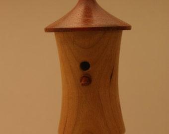 Wood turned birdhouse ornament