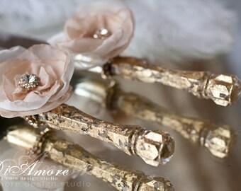 Wedding Cake Server and Knife, ivory & gold cake knife and server,  cake accessories, flowers wedding, personalized, 2 pcs C1/13/8-0001