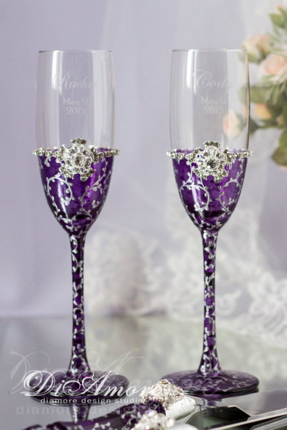 plum silver wedding champagne flutes from the collection art deco