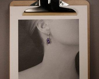 Pearl Earrings with Amethyst - Drop Earrings in Sterling Silver with Amethyst Clusters and Dark Purple Freshwater Pearls - 00208