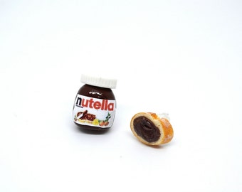 Nutella jar and slice of bread with nutella spread stud earrings,Nutella stud earrings,Breakfast earrings