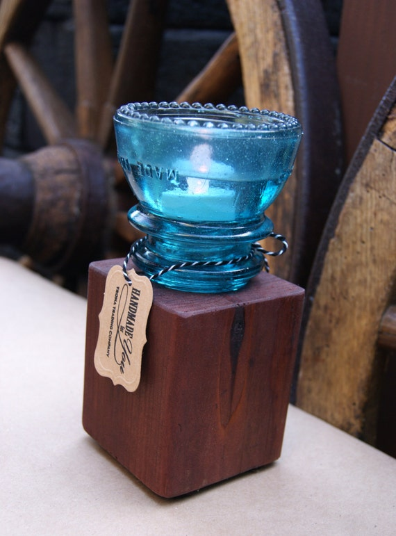 Vintage insulator reclaimed wood candle holder tall for Insulator candle holder