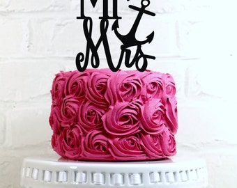Mr & Mrs Anchor Wedding Cake Topper or Sign Perfect for Nautical and Beach Weddings