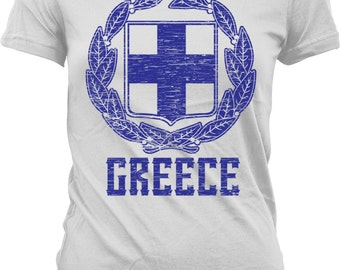 Greek Coat of Arms Ladies T-shirt, Coat of Arms of Greece, Greek Pride, Junior and Women's Greece T-shirts GH_02158