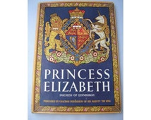 Vintage UK Royal Family biography decorative cover Princess Elizabeth 1950s Duchess of Edinburgh Queen illustrated 65th birthday present