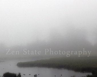 Foggy Wetlands Nature Print. Fog Photography Print. Landscape Print. Wetlands Photo. Unframed Photograph, Framed Photography, Canvas Print.