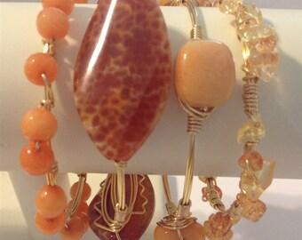 Orange Pearl Wire Wrapped Bracelet