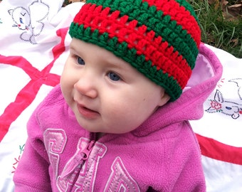 Baby- or Toddler-Sized Crochet Red and Green Stripe Beanie - Featured on zulily.com!!