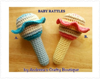 100% COTTON Crochet baby rattle for a baby boy or a baby girl, jingly jangly maracas, Soft Stuffed Amigurumi Rattle Toy