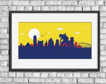 Memphis Skyline print // Mecha Monster Attack in Tennessee // Mecha Godzilla inspired print art poster // Kaiju nursery print gift for kids