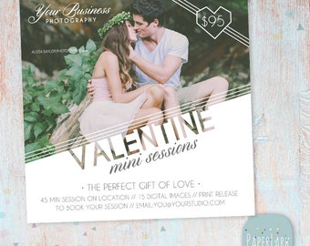 Valentine Marketing Board -  Mini Sessions - Photoshop template - IV008 - INSTANT DOWNLOAD