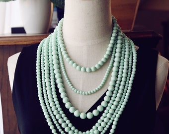 Dramatic Multi Strand Bib Necklace, Refreshing Mint Statement Necklace