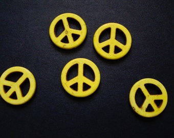 Yellow Peace Sign Beads - howlite (imitation) - yellow - 24 mm