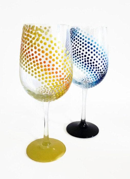 Zenni Optical Polka Dot Glasses : Hand Painted Wine Glass Stylish Polka Dotted Barware Colorful