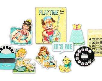 Digital vintage embellishments / printable JPEG / PDF / shabby chic / retro girls, 3D viewer, telephone dial, bingo card, flowers,  record