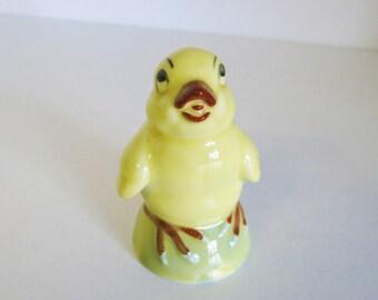 Vintage Chicken Figurine Yellow Pottery Chick Circa 1960s