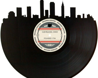 Cleveland Skyline Records Redone Label Vinyl Record Wall Art - Unique Gift - Birthday Holiday Christmas Wedding