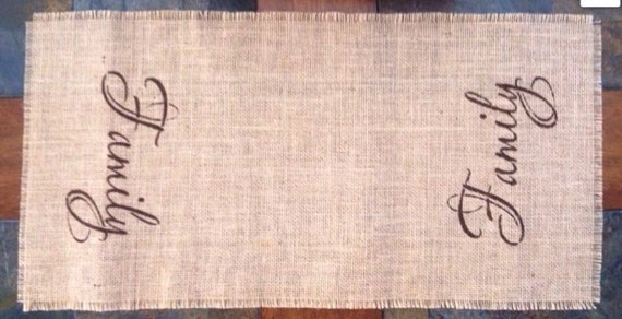 Primitive Natural Jute Burlap Oversized Placemat Candle Mat Family, Faith, Hope OR Love