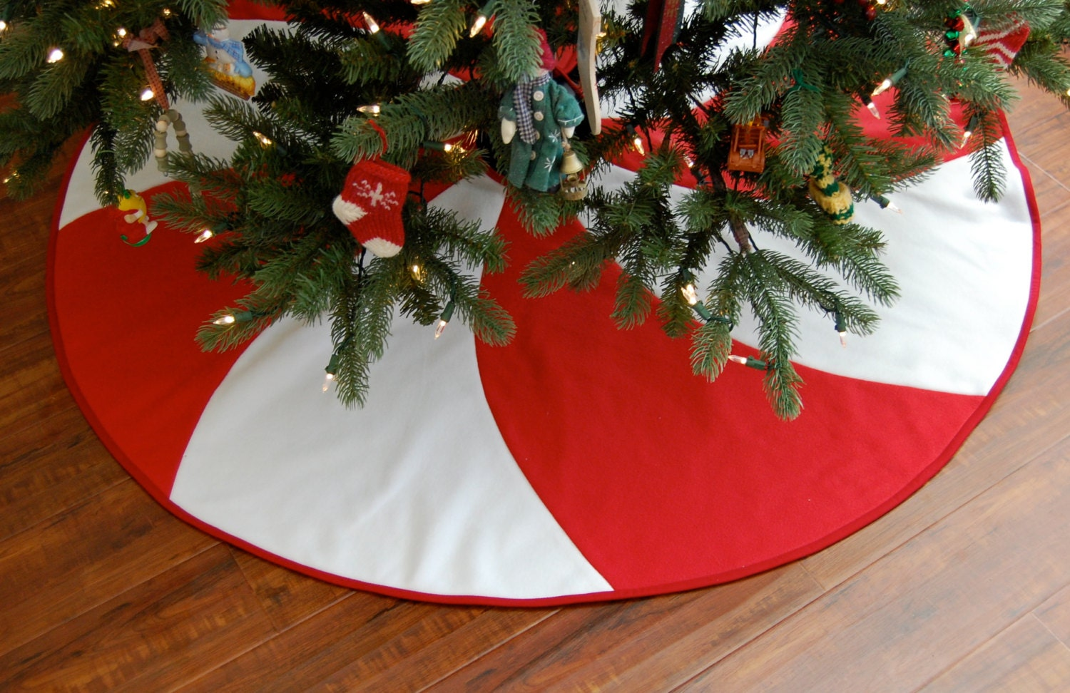 Peppermint Swirl Christmas Tree Skirt 54 Red and by SewShaped