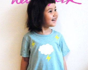 Hand-printed Kids T shirt | cloud and lightening | size 130 (JPN)