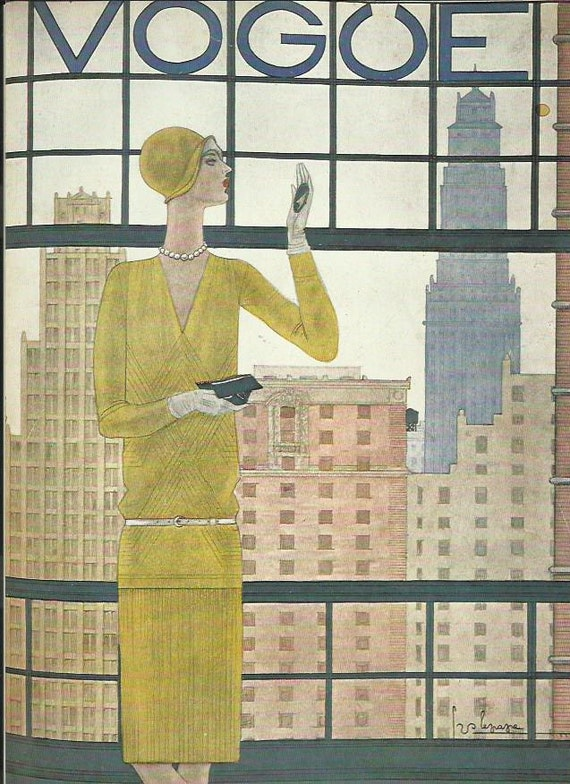 vogue magazine cover by lepape 1928 lady window skyscrapers fashion illustration vogue poster art deco home - Vogue Decor Magazine
