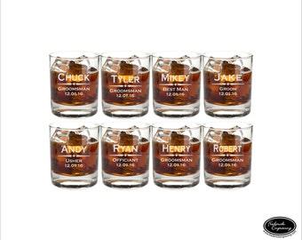EIGHT Personalized Wedding Whiskey Glasses, SHIPS FAST, Toasting Glasses, Groomsmen Glasses, Wedding Gift, Engraved Wedding Rocks Glasses