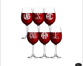 SIX Engraved Wine Glasses, SHIPS FAST, Custom Monogram Wine Glasses, Personalized Wine Glasses, Etched Wine Glasses, Monogram Wedding Favors