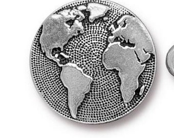 SALE: TierraCast Earth Button, Silver Pewter,