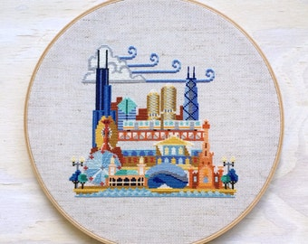 Pretty Little Chicago - Satsuma Street Modern Cross stitch pattern PDF - Instant download