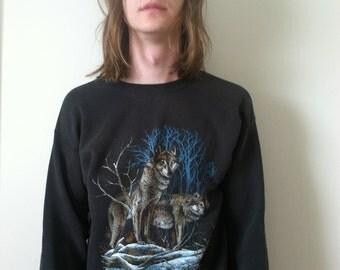 80s Wolf Crew Neck Sweatshirt