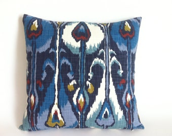 11 Sizes Available: One Indigo Ikat Robert Allen Zipper Pillow Cover 18x18 24x24 26x26 or lumbar pillow cover-RYYD