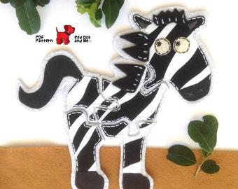 Zebra 5 piece Jigsaw Puzzle Easy Hand Sewing PDF Toy Pattern Felt Animal Toy