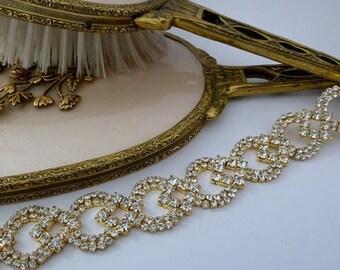 WEDDING HEADPIECE, Bridal Gold Headband, Bridal Headpiece,Gold Wedding Headband, Rhinestone Headband, Jeweled Gold Headband