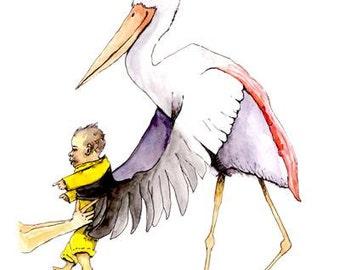 Fine art print. Babies room. Nursery Art. Stork with baby. Water colour & pen. 255gsm paper.