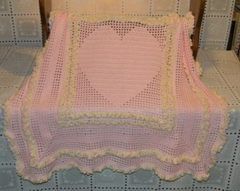 Crocheted baby blanket--Candy Heart