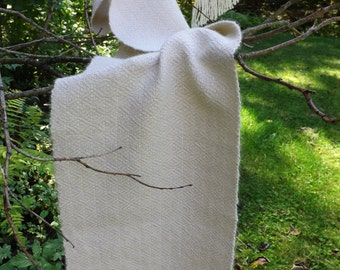 Handwoven Alpaca Scarf in Natural Winter White for Men or Women