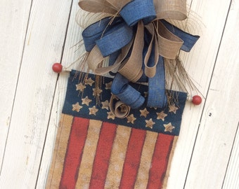 USA Banner, Americana Wreath, 4th of July Wreath, Burlap Door Flag, Burlap Americana Wreath, Fourth of July Wreath, USA Wreath, July 4th