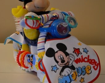 Motorcycle Diaper Cake Mickey Mouse Disney Baby Shower Centerpiece Gender Neutral Unique Baby Shower Welcome Baby Home Present Mickey Mouse