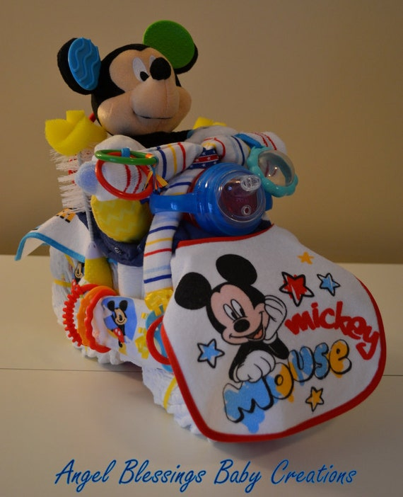 Baby Gifts For Either Gender : Motorcycle diaper cake mickey mouse disney baby shower
