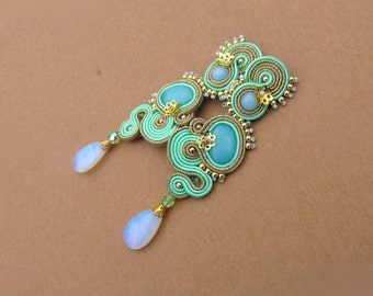 Long Bridal Clip On Earrings - Mint Gold Soutache Earrings , Fashion and Unique Earrings for Bride or Bridesmaid