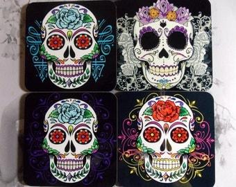 Coaster Set Sugar Skulls - Skull Coasters- Set of 4