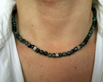 Mens Necklace Obsidian Necklace for Men Mens Jewelry Mens Beaded Necklace DESIGN YOUR JEWELRY