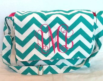 Messenger Bag, school bag for kids, diaper bag embroidered; turquoise chevron with hot pink lining