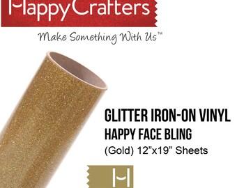 """Iron On Glitter Vinyl (Fool's Gold) 12"""" x 19"""" Sheet"""
