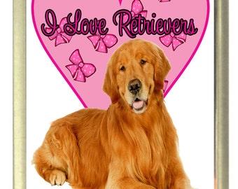 I Love Retrievers Dog Fridge Magnet 7cm by 4.5cm,
